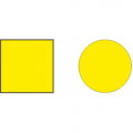 Наклейка на двери круг. Желтая 150мм